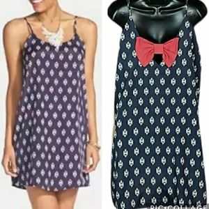 Everly Navy Southwest Print Red Bow Shift Dress